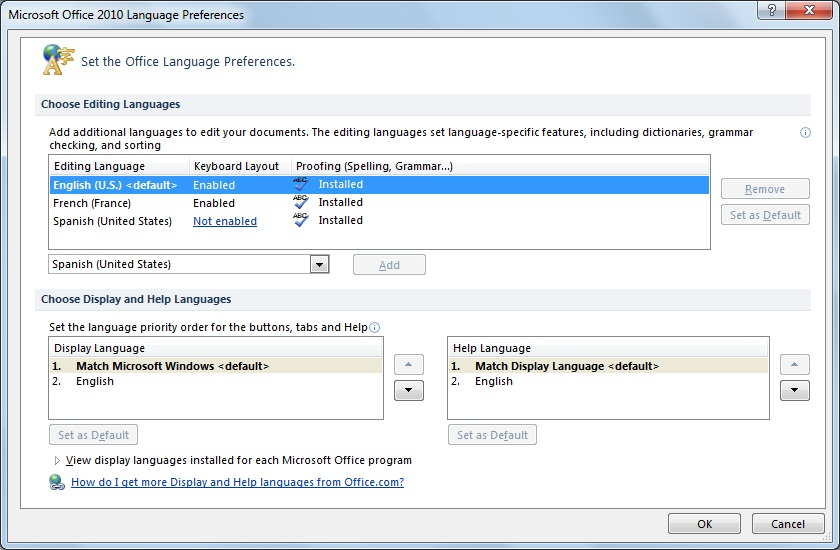 microsoft office language interface pack 2010
